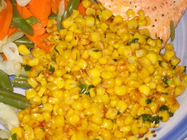 Fried Corn Paula Deen Style from Food.com: There are lots of good fried corn recipes on the Zaar but there is NO bacon in this dish. It uses butter instead. I also thought the basil added was a great touch. I got this recipe from her magazine. Quick and easy. I bet you can use frozen corn too.