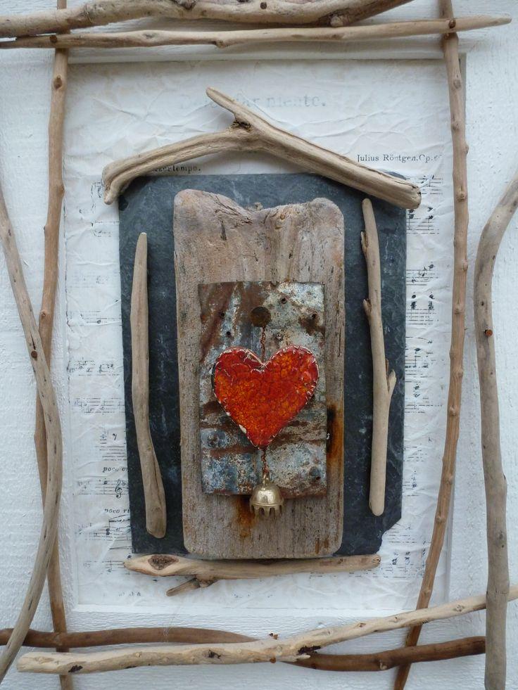 #mixed media heart wood
