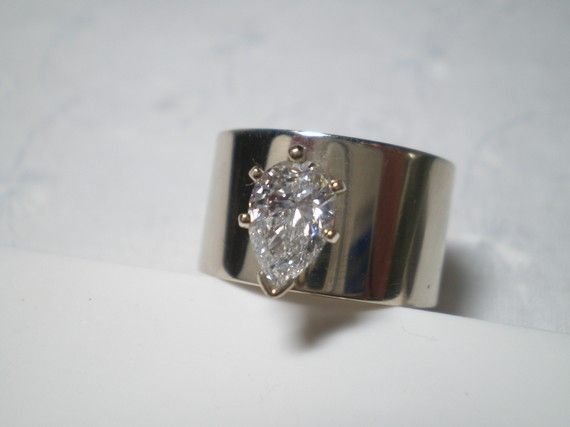 Pear Shaped Diamond Ring in 14k White Gold Huge by VintageHand, $6995.00