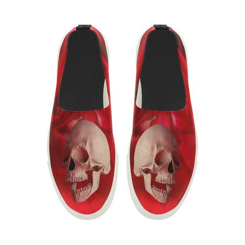 Funny Skull and Rose Apus Slip-on Microfiber Women's Shoes (Model 021)