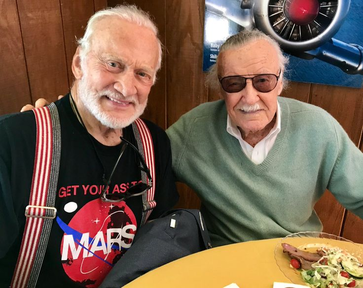 """Buzz Aldrin on Twitter: """"It was good to see @TheRealStanLee again today. He said he's willing to go to #Mars and when we are ready to sign him up. #GYATM https://t.co/wSK160j0y1"""""""