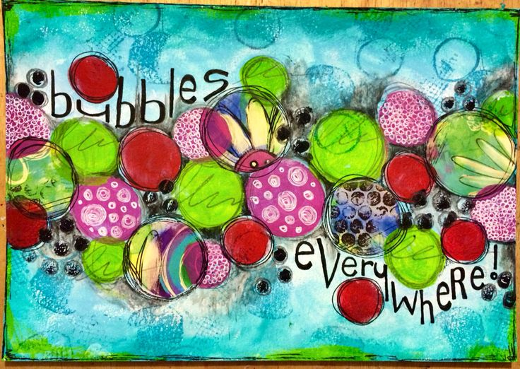Bubbles everywhere- art journal page