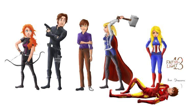 ROTBTD / Avengers Merida (Hawkeye), Flynn Rider (Black Widower), Hiccup (The Hulk), Astrid (Thor), Rapunzel (Captain America), and Jack Frost (Iron Man).