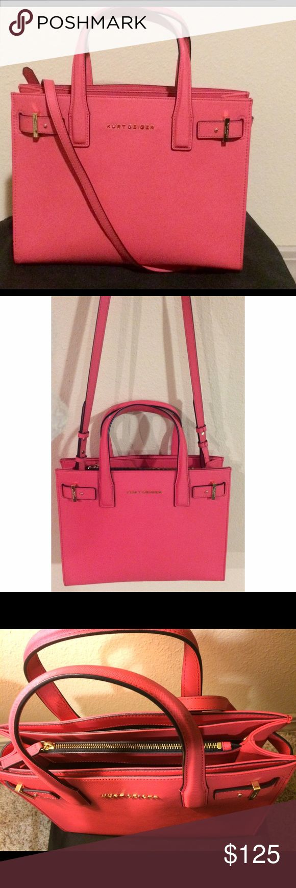 Kurt Geiger London Tote in saffiano leather Beautiful peach/salmon colored handbag with gold hardware.This Tote is made with durable saffiano leather. It comes with a shoulder strap and a nylon dust cover. Bags Totes
