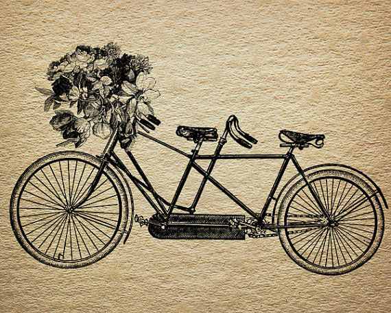 Tandem Bicycle Flower Bouquet Victorian Antique Digital Image Download Transfer To Pillows Tote Bags Towels Burlap No. 0053