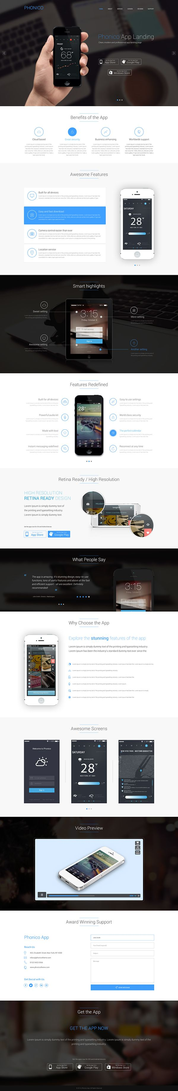Phonico - Mobile Landing Template - Dark  Blue by Md. Shahadat Hussain, via Behance