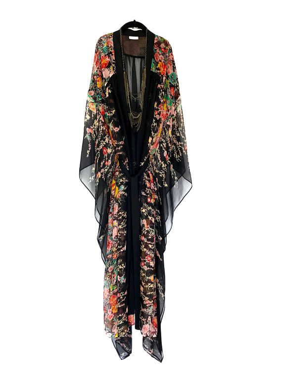 Bata kimono de Kaftan, túnica caftán de seda en una gasa de seda pura negra y roja floral imprimir, playa cubierta para arriba, kimono de seda, regalo para las mujeres de seda
