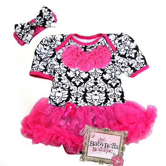 Black and white Baby Damask Onesie and headband Set, ,Girl romper hot pink tutu skirt