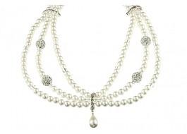 Colier guler din perle Mallorca, rhinestone si cristale Swarovski   Magazin online de bijuterii