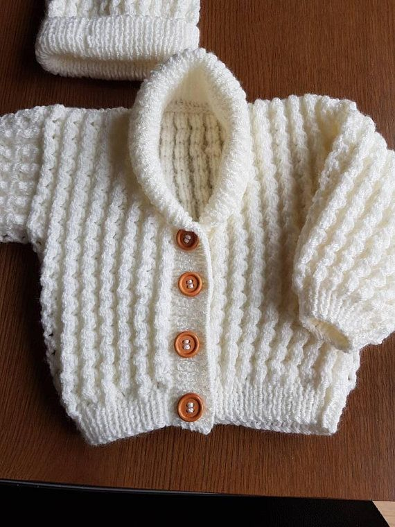 066986ba3 Hand Knitted Cream Baby Boy or Girl Cardigan and Hat Set with Large ...