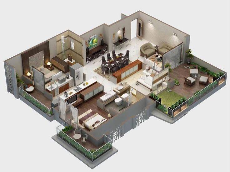 8 modern 3d floor plans 3 decor small spaces for Casa moderna revit