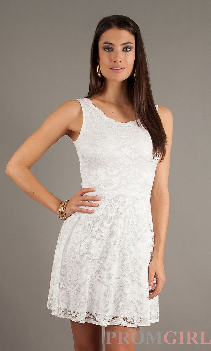 short sleeveless white lace dress by jump