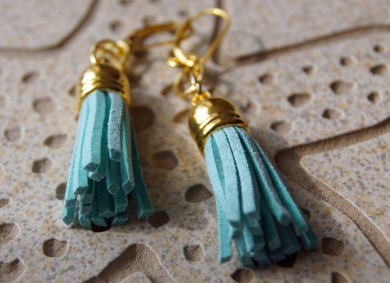 Sky Blue Faux Leather Tassel Earrings by JewelleryInspired4U