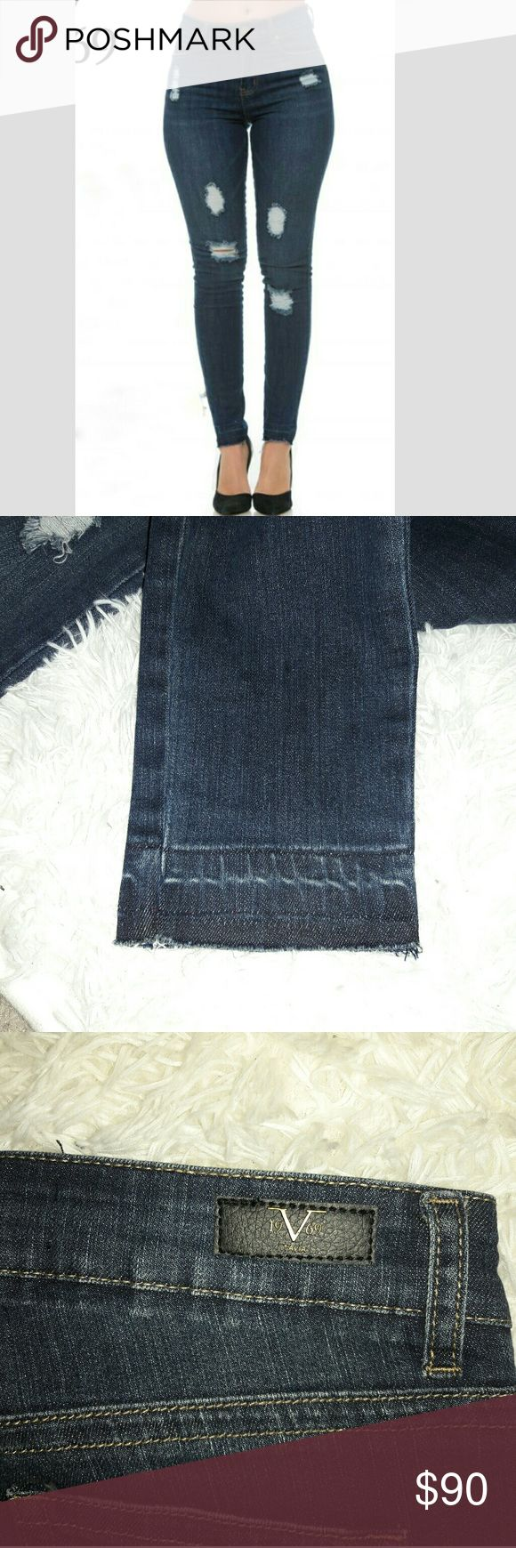 Distressed Versace jeans Classic high wasted Elena skinny style..with spots of distressing going down the front with a undone hem style..has some stretch to them which make them fit absolutely perfect (makes your body look GREAT)..I love mine!!..Can easily be dressed up or down with heels boots or your favorite go to shoes or sneakers..so versatile a comfy..any ?'s Please ask!...a must have that will become your go to jeans :) #trendy #musthave #stylish #19V69 # Versace #designer #jeans…
