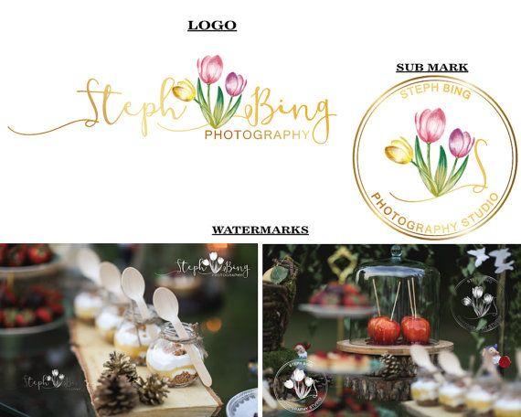 Tulip logo Spring flower logo Watercolor Tulips by LoveArtsStudio