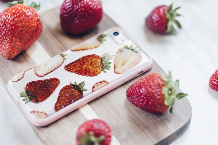 Strawberry Breeze  Handmade Pressed Flower iPhone Bumper Cases for iPhone 7 or iPhone 8 Clear bumper case handmade with real pressed strawberries