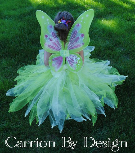Tinkerbell Tutu Dress with Wings & Wand - Woodland Fairy - Multiple Color Choices - Newborn to Size 9 - Baby - Toddler - Girls