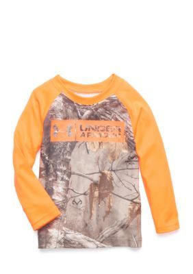 Under Armour Real Tree Raglan Tee Toddler Boys - Magma Orange - 3T