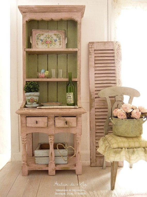 Dresser Shabby, Pink and Provence green, Country Kitchen, Furniture for a French miniature dollhouse in 1:12 scale. This dresser all in wood