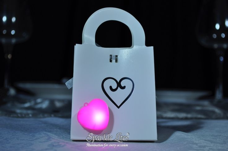 Pink Sparkle Heart on a wedding keepsake box. Sparkle Hearts have a peel and stick backing to make it easy for placement.  www.sparklelites.com