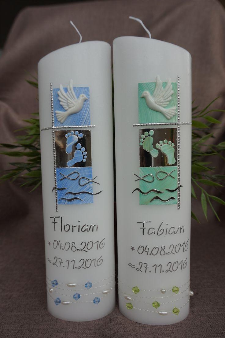 Zwillinge Taufe Geburt Kerze Taufkerze Baby Taube