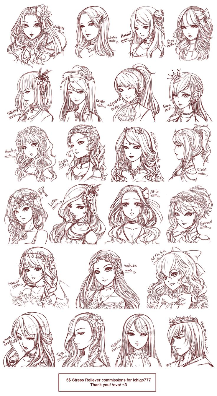 Inspiration: Hair & Expressions ----Manga Art Drawing Sketching Head Hairstyle---- [[[Batch10 by omocha-san on deviantART]]]