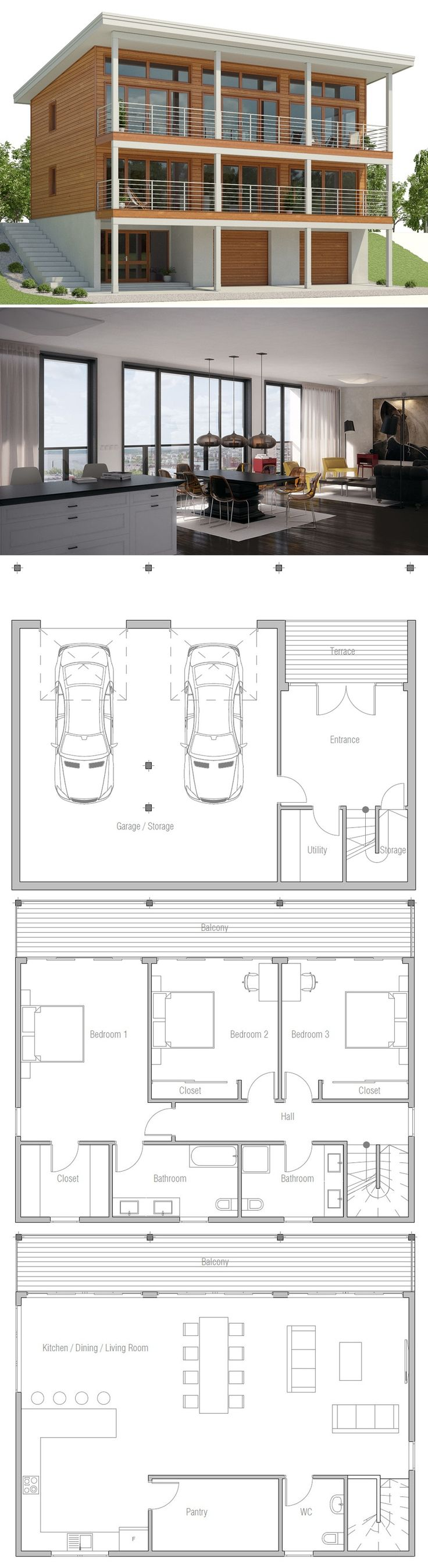 Sloping lot house plan floor plans 8984
