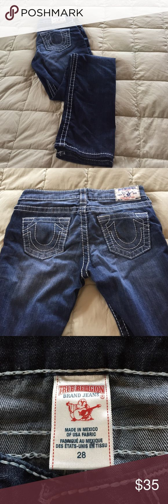 """True Religion Straight Leg Jeans True Religion straight leg jeans size 28.  Purchased new at TR outlet.  32"""" inseam. Lightly worn. Downsizing so it's your lucky day.  These have a straight leg not skinny. True Religion Jeans Straight Leg"""