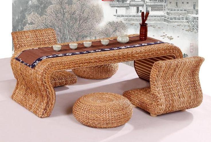 Freeshipping ротанга тростника составляет чайный стол стол соломы плавающее окно балкон наборы для отдыха купить на AliExpress
