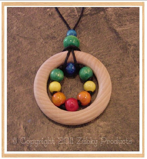 "Zúbky Wooden Sensory Teething Necklace for Natural Nursing Breastfeeding Mamas ""Stephen's Legos"""