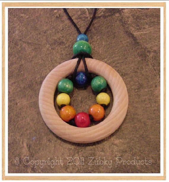 "Zúbky Wooden Sensory Teething Necklace for Natural Nursing Breastfeeding Mamas ""Stephen's Legos"""