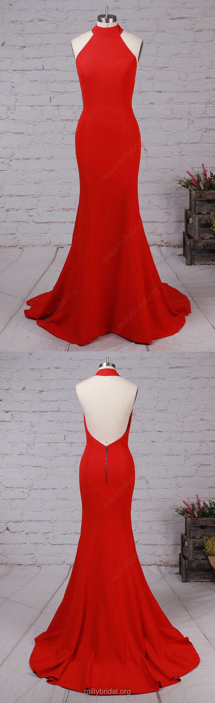 Long Prom Dresses,Red Prom Dresses,2018 Prom Dresses For Teens,Trumpet/Mermaid Prom Dresses Halter, Elastic Woven Satin Prom Dresses For Cheap