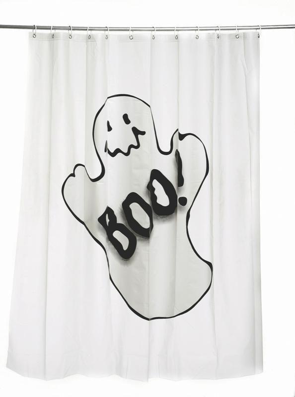 #Cortinas de #ducha en blanco con dibujo de fantasma