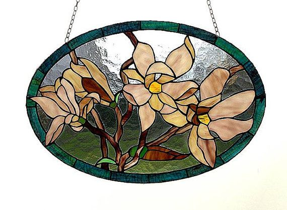 Flowers  stained glass suncatcher. Tiffany glass by AmberGlassArt