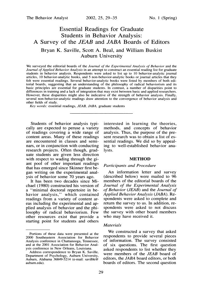 Essential readings for graduate students in behavior analysis: A survey of the JEAB and JABA boards of editors Bryan K. Saville, Scott A. Be...