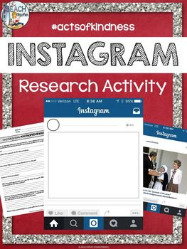 This free Instagram activity for the holiday season gets students researching about people who are inspirational and have made personal sacrifices. Now, more than ever, it's important for students to research historical figures, local heroes, and others who exemplify kindness, tolerance, and generosity.