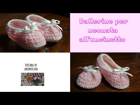 ballerine per neonata all'uncinetto tutorial - YouTube