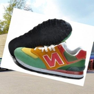 New Balance 574 men's coaches, Green-Yellow-Pink HOT SALE! HOT PRICE!
