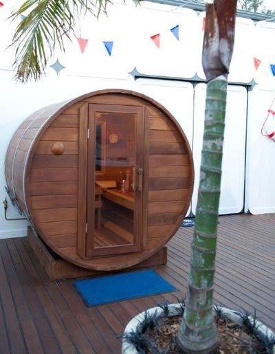 Barrel sauna in captains quarter - Big Brother Australia 2012