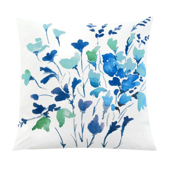 Summer Meadows - One of a kind watercolour floral is an unique design by Senay @SenayDesignStudio  * Original eco-friendly fabric, featuring our unique hand painted design * Hand crafted throw pillow case/cushion cover with attention to details * Custom made to fit standard size pillow form/insert: 16 inches x16 inches, 20 inches x 20 inches, 26 inches x 26 inches * Front - Watercolor painting 55% linen 45% cotton * Back - Solid colour 100% premium flax linen in natural colour * YKK...