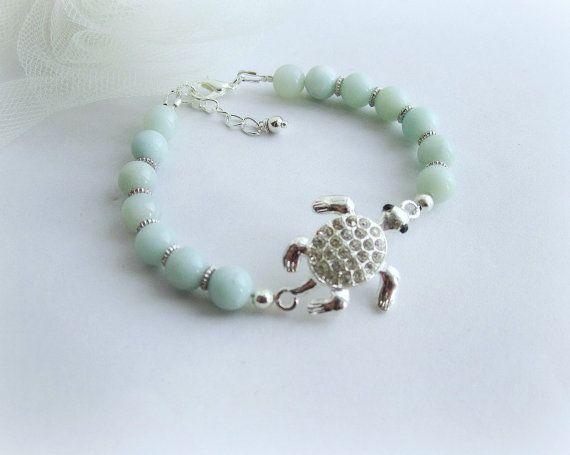 Sea turtle bracelet amazonite bracelet stone by MalinaCapricciosa