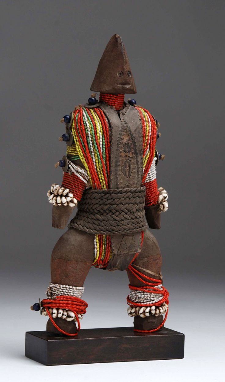 Africa | Doll from the Namji people of northern Cameroon | Wood, leather, glass beads, shells, metal, fiber