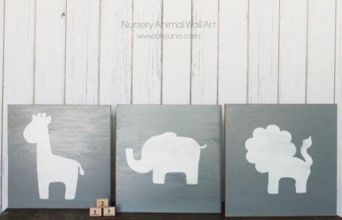 DIY nursery animal wall art use different colors