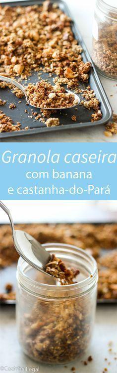 Granola caseira com banana   Ingredientes - Aveia em flocos: 3 xíc. (chá) - Castanha-do-Pará, grosseiramente picada: 1 xíc. (chá) - Açúcar mascavo: 3 colheres de sopa - Sal marinho: 1/2 colher de chá - Canela em pó: 1/2 colher de sopa - Óleo de coco: 1/4 xíc. (chá) - Mel, xarope de agave ou de bordo : 1/3 xíc. (chá) - Essência de baunilha: 1 colher de chá - Banana madura e amassada: 1 unidade