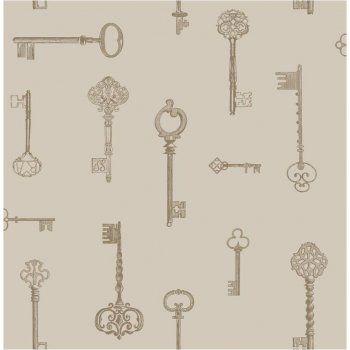Fine Decor Keys Wallpaper Taupe / Gold / Cream