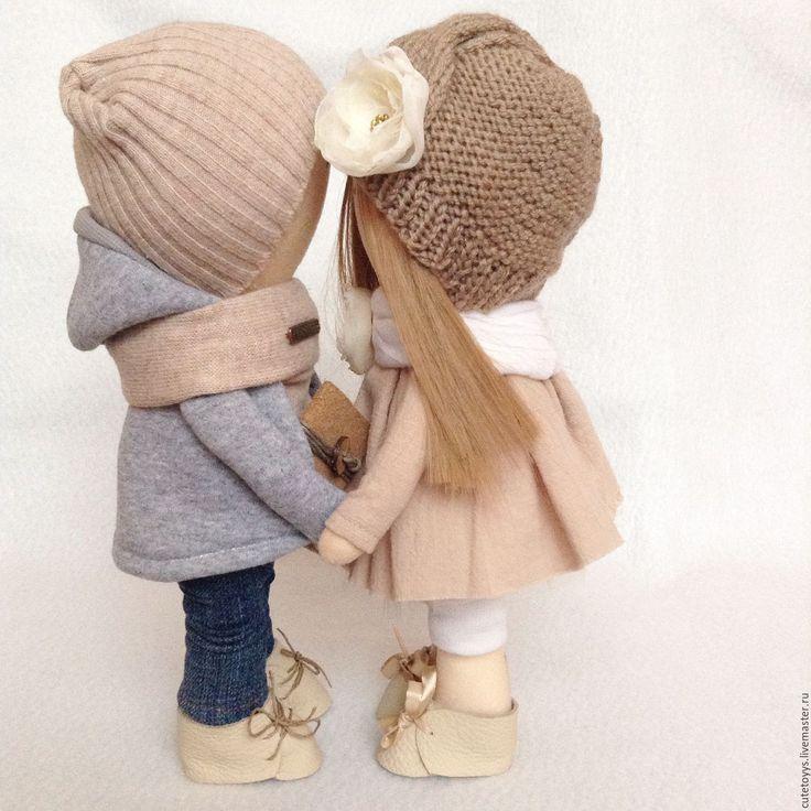 Купить Мальчик и девочка - бежевый, куклы, парочка, куклы человечки, мальчик и девочка, влюбленные