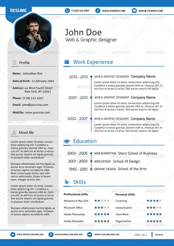 33 best Resume Template Designs images on Pinterest Resume - resume template it professional