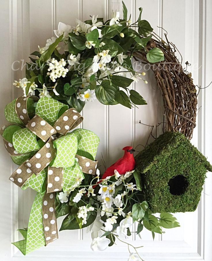 Cardinal Wreath, Spring Wreath, Spring Grapevine Wreath, Birdhouse Wreath, Red Bird Decor, Cardinal Decor, Birdhouse Decor, Spring Decor by CharmingBarnBoutique on Etsy