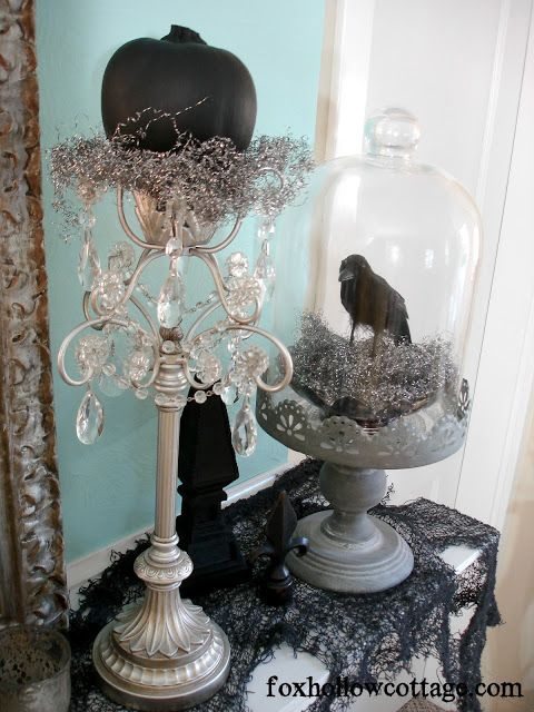 halloween mantel decorating by shannon of fox hollow blog how to get a gothic - Halloween Mantel Decor