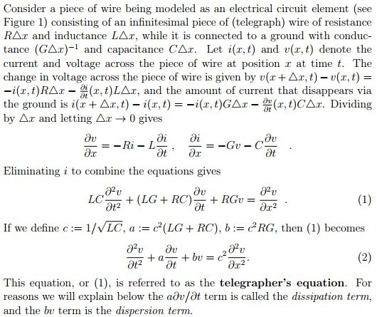 Bell, J. (n.d.). Transmission line equation (Telegrapher's equation) and wave equations of higher dimension. Retrieved from http://www.math.umbc.edu/~jbell/pde_notes/07_Telegrapher%20Equation.pdf «Electrical engineering» «Wave physics» «Telecommunications»